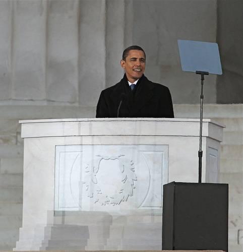 Obama reading teleprompter